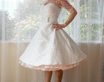 """Ivory 1950's """"Annette"""" Polka Dot Wedding Dress with Sweetheart Neckline, Tea Length Skirt and Petticoat - Custom made to fit"""
