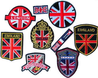 Set 9 patches embroidered patches heat-sealed England London Union jack flags