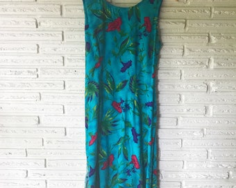 1980s Hawaiian Print Wrap Dress // sundress // floral print // 80s dress // party dress // vintage dress