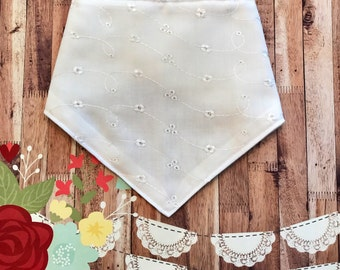White Eyelet Handmade Bib Bandana | Bib Bandana, Bibdana, Baby Girl Bib, Lace Bib, Baby Girl Clothes, Trendy Bib, Hip Baby, Baby Gift