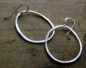 Rustic Boho Sterling Silver Freeform Hoop Earrings