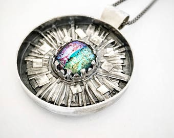 SOLD!!! Balance Payment Listing - Fused Sterling Silver Medallion Pendant w/ Dichroic Glass; OOAK Sterling Silver Statement Pendant