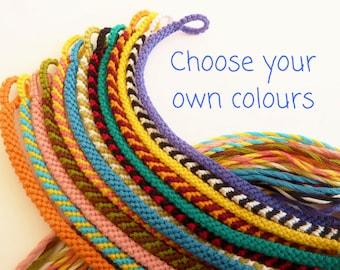 Super Skinny Custom Friendship Bracelet - Narrow Macrame Band - Choose your own Colour - Thin Flat Braided Woven Stripy Custom Bracelet