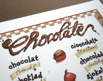 Chocolate Word Art - Chocolate Lover Gift - Calligraphy Art - Typography Print