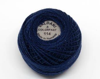 Valdani Pearl Cotton Thread Size 8 Solid: #114 Marine