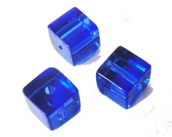 10 x 6mm blue ULTRAMARINE glass cube beads