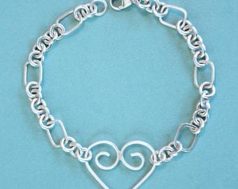 Sterling Silver Bracelet, Sterling Silver Heart Bracelet, Sterling Silver Cable Bracelet, Sterling Silver Link Bracelet, Wire Bracelet