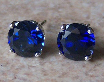 8mm Precision Faceted Lab Blue Sapphire Sterling Silver Stud Earrings, Cavalier Creations
