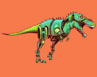 Tyrannosaurus Robosaur art print 5x7