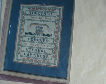 Together - Cross Stitch Wedding Sampler Pattern on 14 Count Ivory Aida by Patricia Ann Designs, NEW Graph  Photo through Sleeve
