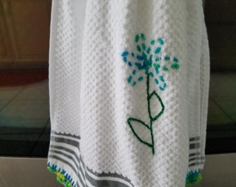 Free shipping kitchen dish towel crocheted top and fringed on the bottom  white kitchen towel, thick and absorbent, thick towel