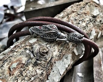 mens spring bracelet leather celtic bracelet men bracelet bead leather bracelet engraved wrap bracelet leather wrap bracelet beaded silver