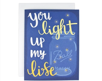 You Light Up My Life greeting card, firefly, lightning bug, love, illustration, valentines day, anniversary