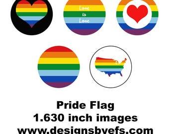 "1.630"" Round Pride Collage Sheet Instant Download LGBTQ, Gay Pride, Pride March, Tolerance, Awareness"