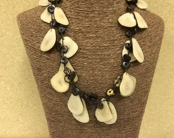 Tagua nut jewelry-  bead necklace. Eco Friendly- Cream