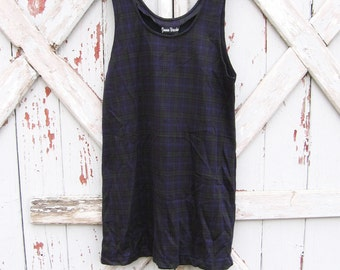 1990s Jamie Brooke plaid mini dress M L