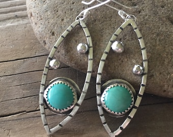 Turquoise dangle marquis shape earrings