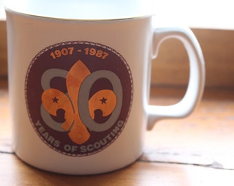1907-1987 - 80 Years of Scouting Mug - Made in England and Decorated in Creemore, Ontario