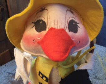 Vintage 1982 Annalee Dolls Duck Rain Coat Umbrella Spring
