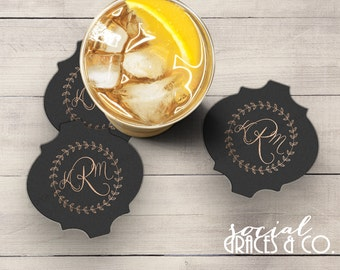 Wedding Coasters | Personalized Barware | Cocktail Coasters | Custom Foil Coasters | Drink Coasters | Letterpress Foil Party Favors