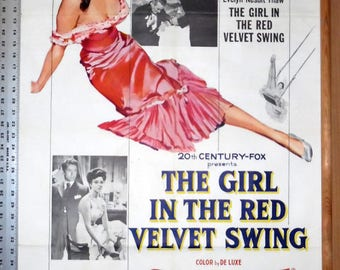 """Antique 1955 Original The Girl In The Red Velvet Swing Movie Poster Joan Collins Ray Milland Vtg Motion Picture Wall Decor 27"""" x 41"""" 1 Sheet"""