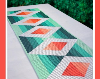 Aztec Diamond Table Runner, Krista Moser. The Quilted Life, Modern Quilt Pattern, Printed