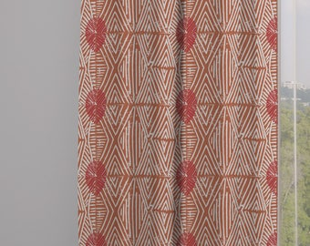 Tribal Marks Print Drapery Window Curtain Panel - Red/Coral - Free Shipping