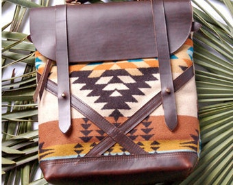 Coastal Bag- made with wool form Pendleton Oregon and Horween leather