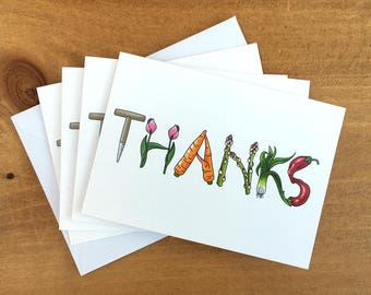 Pack of 4 thank you cards. A6 size with envelopes.