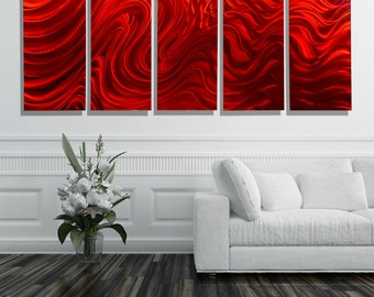 Huge Multi Panel Wall Art in Red for a Modern Decor, Large Indoor Outdoor Metal Wall Art Painting - Red Hypnotic Sands 5P XL by Jon allen