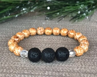 Natural Lava Stone, Bronze and White Marbled Czech Glass Bead Essential Oil Diffuser Bracelet, lava bead bracelet, EO diffuser bracelet