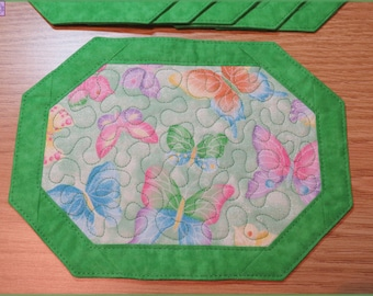 Quilted Mug Rug, Candle Mat, Side Table Decor, Butterflies Sparkle Green 157