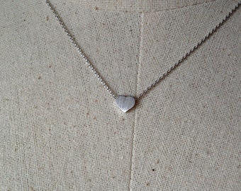 Silver Heart Necklace, Dainty Necklace, Tiny Heart Necklace