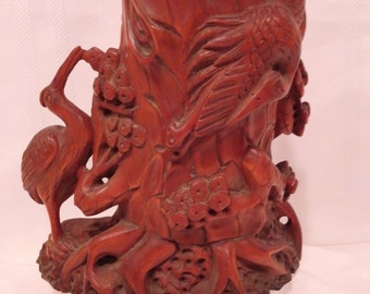 Very Beautiful Large Unique Chinese Hand Carved Boxwood Brush Pot