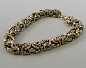 Chainmail Bracelet, Champagne Chainmaille Bracelet, Chain Mail Jewelry, Square Byzantine Bracelet