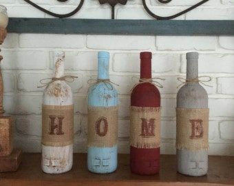 Rustic Home Decor Four Wine Bottle Set, Home Decor, Rustic Home Decor, Wine