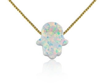 Opal Hamsa Necklace White Opal on Gold Plated 925 Sterling Silver Chain • Safe to Get Wet • Best Low-Price Opal Hamsa Necklace on Etsy