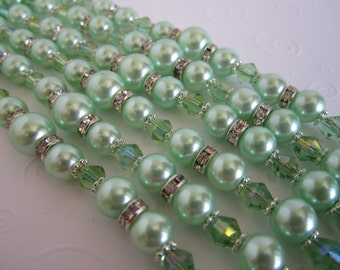 Mint Green Bridesmaid Bracelet and Earring Set/Mint Green Bridal Party/Mint Green Bridal Jewelry.