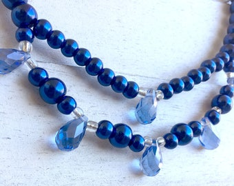Royal Blue Pearl Necklace