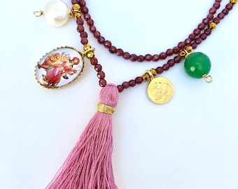 Fearless Durga Necklace, Multi Charm Necklace- garnet mala , Goddess mala, Garnet necklace with charms