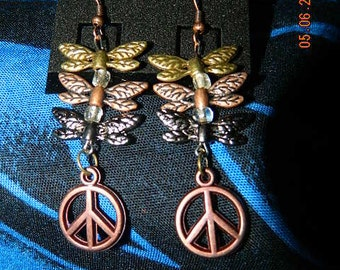 peace and dragonfly earrings