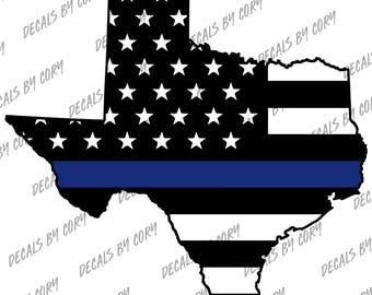 Texas State US Flag Thin Blue Line  Outline Car Decal Houston San Antonio Dallas Austin Fort Worth Cop Sheriff Highway Patrol Trooper Police