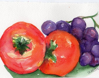 Fruit watercolor painting original, Persimmons, Grapes painting 4 x 6 watercolor painting of persimmons, purple grapes, kitchen art