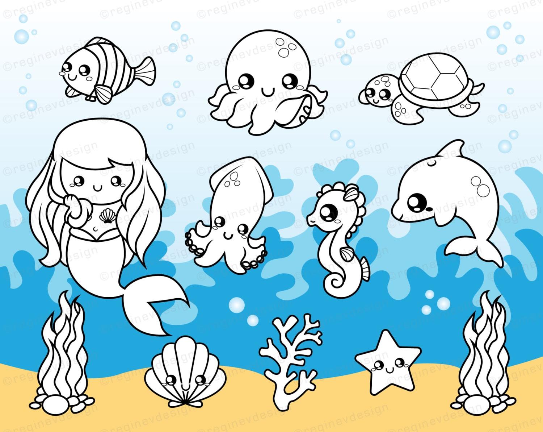 Süße Meer Kreaturen digitalen Stempel Clipart Baby Krake