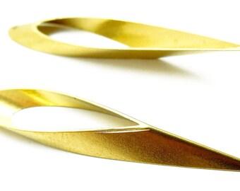 Lot of 5 pendants earrings water drop, brass color, 47 * 8 mm