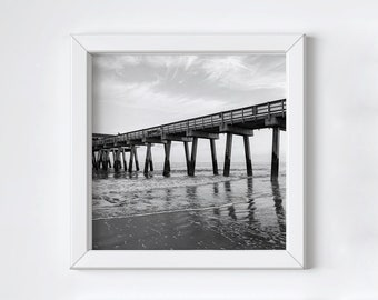 Large square art - Black and white photography - Coastal pier wall art - Tybee Island - Ocean beach print - Fathers Day photo gift - 20x20