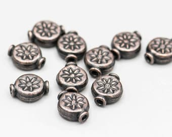 Antique Copper Flower Disk Bead 11x9mm 10 Beads  SKU-FMB-12