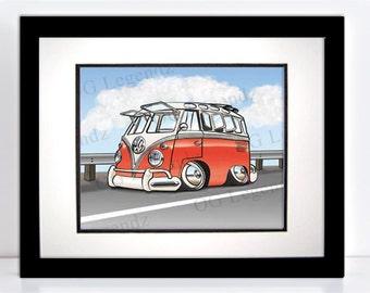 Red VW Safari Ragtop Bus, Art Print - An Original EXCLUSIVE Volkswagen Design by Og Legendz... Slammed VW Type 2 Ragtop Safari Bus