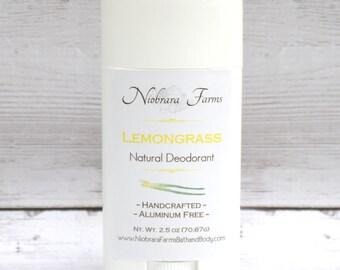 All Natural Deodorant - Natural Lemongrass Deodorant Stick - Aluminum Free Deodorant - Handmade Lemongrass Stick Deoderant - 2.5 oz.