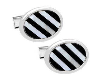 Black & White Stripe Shell Cufflinks